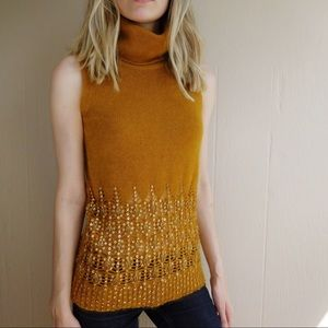 DKNY Lambswool Beaded Turtleneck Sweater Top
